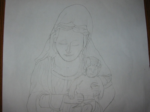 Builder's Drawing of our Mary Statue
